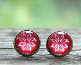 Scandinavian pattern earrings, red and white earrings, Christmas earrings, Nordic earrings, Red Snowflake Earrings, blue snowflake