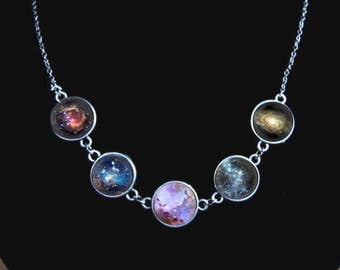 Galaxy necklace, whirlpool galaxy, pinwheel galaxy, born of the stars, nebula jewelry, space and planetary necklace