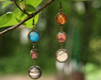 Solar system earrins, Planet earrings, Galaxy earrings, nebula earrings, cosmic earrings, interstellar earrings, Jupiter Mars Venus Saturn