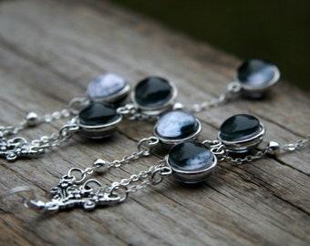 Moon phases earrings, flowing earrings, Flowing Moon earrings, Black and White earrings, Moon jewelry, Beautiful solar system earrings
