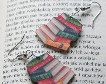 Miniature Book pile earrings, Book spines earrings, Classic novel Earrings, Book jewelry, novel jewelry, book geek, book nerd, book lover