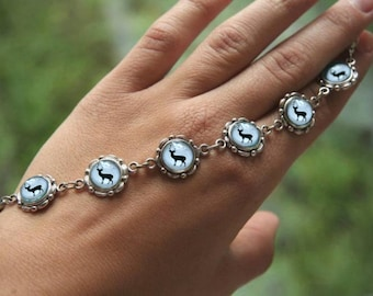 Vintage Reindeer bracelet, Christmas bracelet, Reindeer jewelry, Vintage bracelet, Christmas gift, Winter bracelet, winter jewelry white