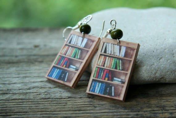 Blue Mini Book Earrings for Readers