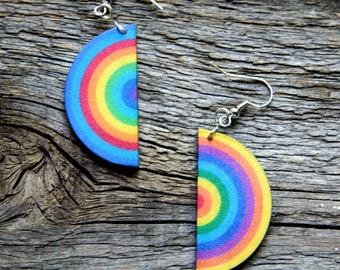 Rainbow half circle earrings, Colorful earrings, Equality earrings, LGBT earrings