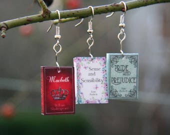 Miniature Book earrings, Classic novel Earrings, Book jewelry, novel jewelry, jane austen, book geek, book nerd, book lover
