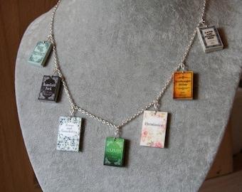 Jane Austen Miniature Books necklace, Pride and Prejudice, Sense and Sensibility, Persuasion, Classic novel necklace, classic book necklace