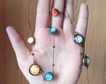 Planet necklace, necklace with planets, solar system necklace, solar system jewelry, galaxy necklace, nebula necklace, cosmic necklace
