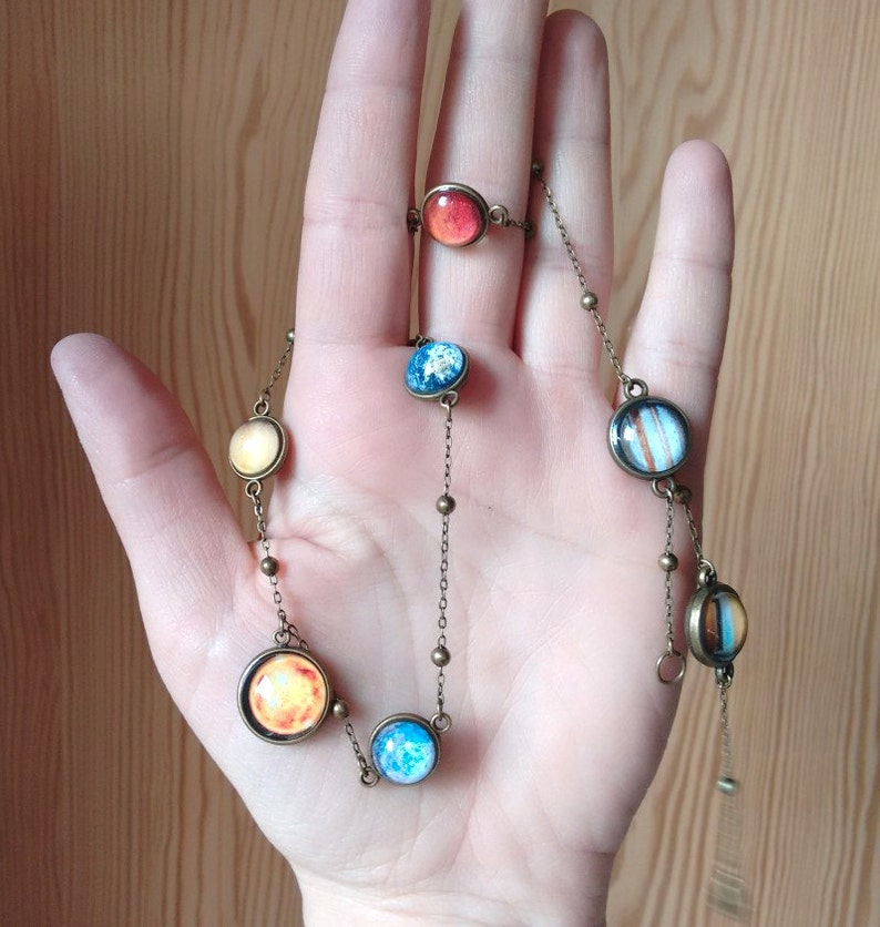 Planet necklace necklace with planets solar system necklace image 0