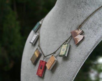 Miniature Books necklace, Classic novel necklace, Book jewelry, vintage book jewelry, Jane Austen, Miniature Book charm necklace, book lover