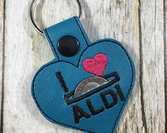 Aldi Keychain, Quarter Keeper, Aldi Quarter Holder, Turquoise, Aldis, Aldi, Keyfob, Mom Gift, Aldi Quarter Keeper, Stocking Stuffer, Gift