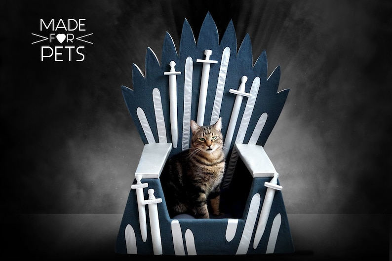 Cat bed Iron Throne Cat furniture big  Gray Cat house Gift image 0