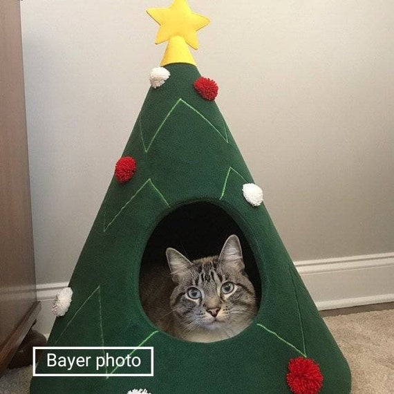 Christmas Tree Cat House Cat Furniture Christmas Gift Idea Pet Furniture Cat Teepee Dog Bed Decoration On Christmas For Pet Lovers Xmas Gift