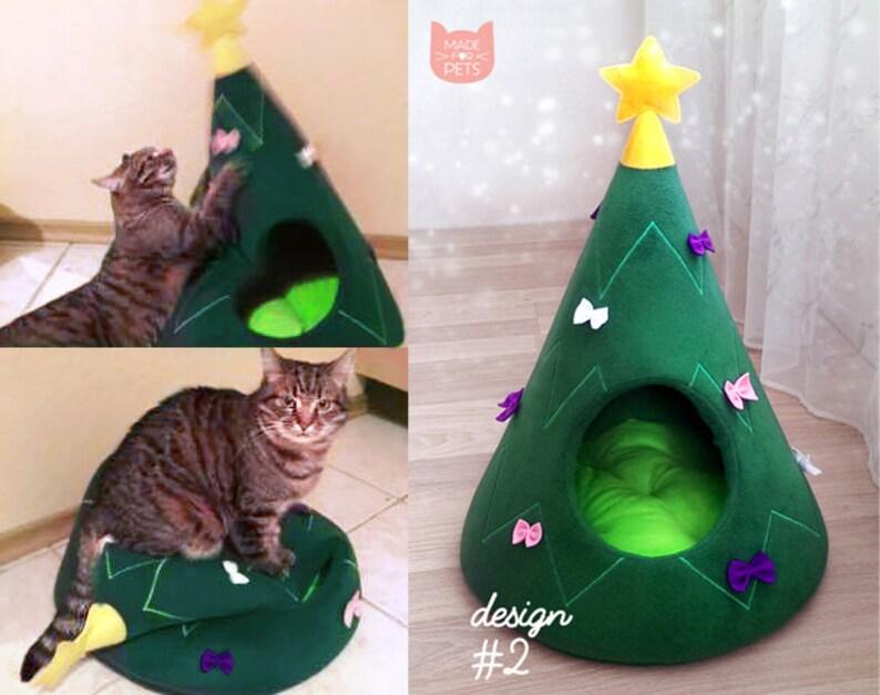 圣诞树猫屋猫家具圣诞节礼物的想法宠物图片4