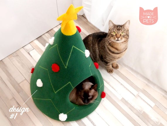 Groovy Christmas Tree Cat House Cat Furniture Christmas T Idea Pet Furniture Cat Teepee Dog Bed Decoration On Christmas For Pet Lovers Xmas T Pabps2019 Chair Design Images Pabps2019Com