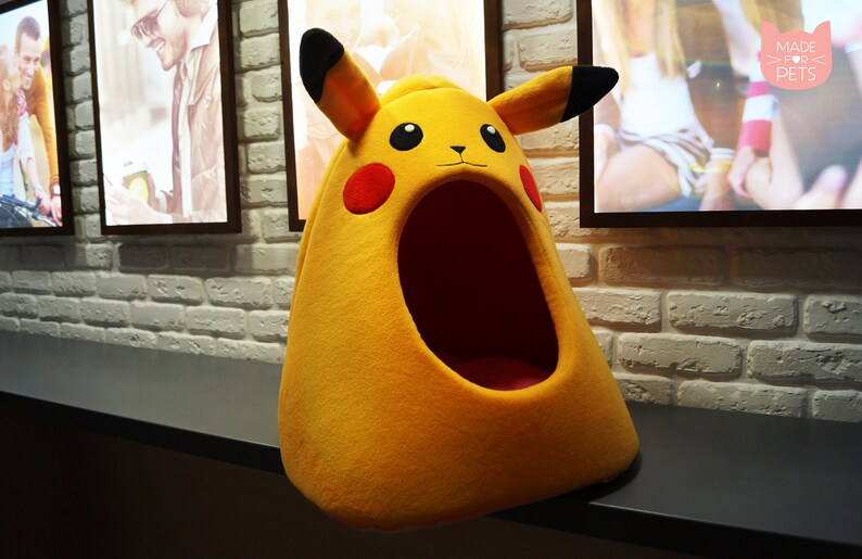 Pokemon cat furniture, Pikachu cat bed, Gift idea, Pet furniture, Cat  teepee, Cat house, Small dog bed, Yellow cat furniture, Cat cave
