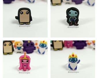 Adventure Time Rings - Gunter / Marceline / Ice King / Princess Bubblegum