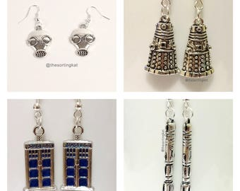 Doctor Who Earrings - Screwdriver/ Dalek/ Tardis/ Gas Mask