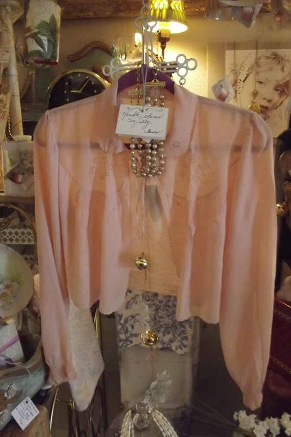Old 1930s French bed jacket, silk