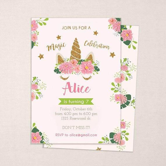 Unicorn Invitation Birthday Invitation For Kids Glitter And Pink Invite Editable Pdf Instant Download Invitation For Girls Gold Flowers