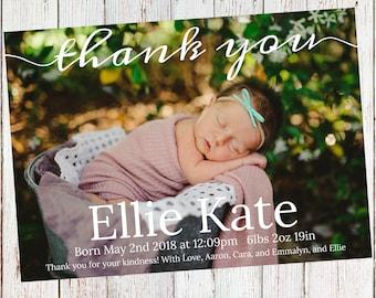 5x7 Custom Baby Announcement Print *Digital Copy*
