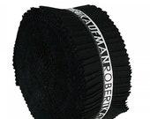 Kona Cotton Black 2.5in Roll Ups, Jelly Roll, Robert Kaufman, RU-196-40, pre-cut strips