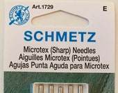 Schmetz Microtex (Sharp) Sewing Machine Needles, Assorted Sizes