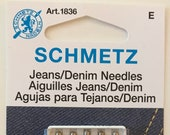 Schmetz Jeans/Denim Sewing Machine Needles, Assorted Sizes, Article 1836