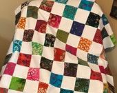"Multi-Color Batik Quilt Top, 33"" x 45"", Handmade Lap Quilt, Homemade Quilt"