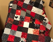 """Red Black White Quilt Top, 33"""" x 45"""", Ready to Finish"""