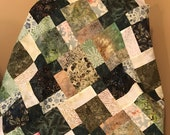 "Batik Quilt Top in Shades of Green, 33"" x 46"", Handmade Lap Quilt, Homemade Quilt"