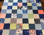 "Blue Patchwork Quilt Top, 36"" x 45"", Ready to Finish"