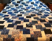 """Queen Patchwork Unfinished Quilt Top in Shades of Blues, 72"""" x 84"""""""