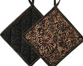 Black & Brown Batik Quilted Pot Holders, Handmade Pot Pads, Housewarming Gift