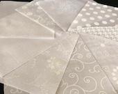 72 ~ 5 Inch Quilt Squares, White on White Cotton Prints, Maywood Studios