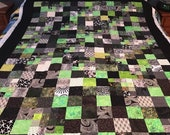 "Geometric Green and Black Batik Lap Quilt, 53"" x 70"", Unfinished Quilt Top"