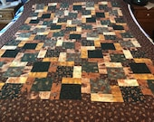 "Rustic Patchwork Unfinished Quilt Top, Lap Quilt, 54"" x 67"""