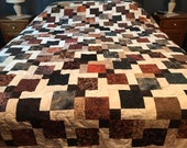 Handmade Queen Size Patchwork Quilt in Black Brown & Cream Batik, Ready to Ship