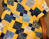 "Blue and Yellow Batik Quilt Top, 33"" x 46"", Handmade Lap Quilt, Homemade Quilt"