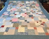 Country Blue and Pink Patchwork Quilt Top