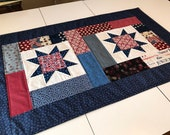 "Patriotic Quilted Table Topper or Table Runner, Red White Blue, 21"" x 36"", Candle Mat"