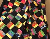 Lap Size Rainbow Batik Unfinished Quilt Top, Ready to Quilt