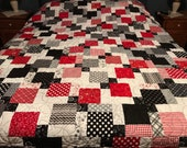 Handmade Queen Size Patchwork Quilt, Red Black White, Ready to Ship