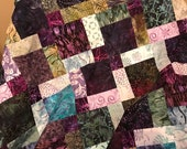 "Unfinished Batik Quilt Top in Purple & Green, 33"" x 46"", Ready to Finish"