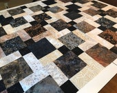 "Batik Quilt Top in Black Brown Beige, 33"" x 46"", Handmade Lap Quilt, Homemade Quilt"