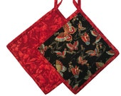 Asian Butterfly Quilted Pot Holders, Handmade Pot Holders, Set of Two