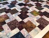 """Purple & Green Batik Unfinished Quilt Top, 33"""" x 46"""""""