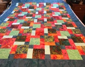 "Tropical Blue Batik Unfinished Quilt Top, 54"" x 67"", Lap Quilt, Homemade Quilt, Scrappy Quilt"