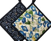 Morning Glory Quilted Floral Pot Holders, Handmade Pot Holders, Housewarming Gift