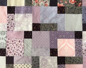 Purple and Pink Lap Size Patchwork Quilt Top