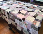 "Lap Size Unfinished Quilt Top, Purple & Pink, 54"" x 67"", Lap Quilt, Ready to Finish"